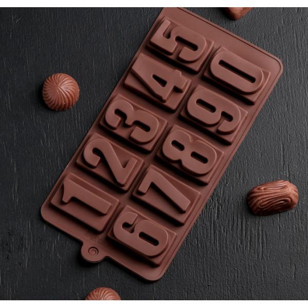 """Форма для льда и шоколада 10 ячеек """"Цифры"""" 20x11x2 см"""