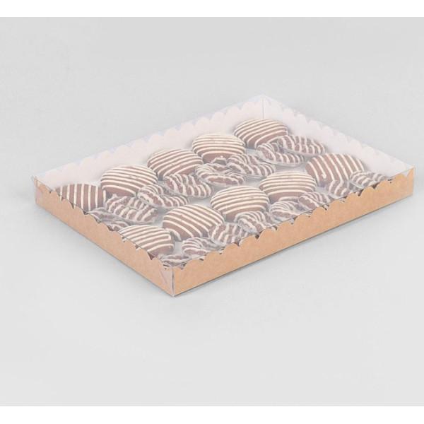 Коробочка для печенья, крафт, с прозрачной крышкой, 23.5*30*3см